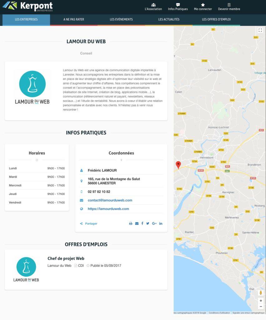 Annuaire et carte des entreprises de Kerpont