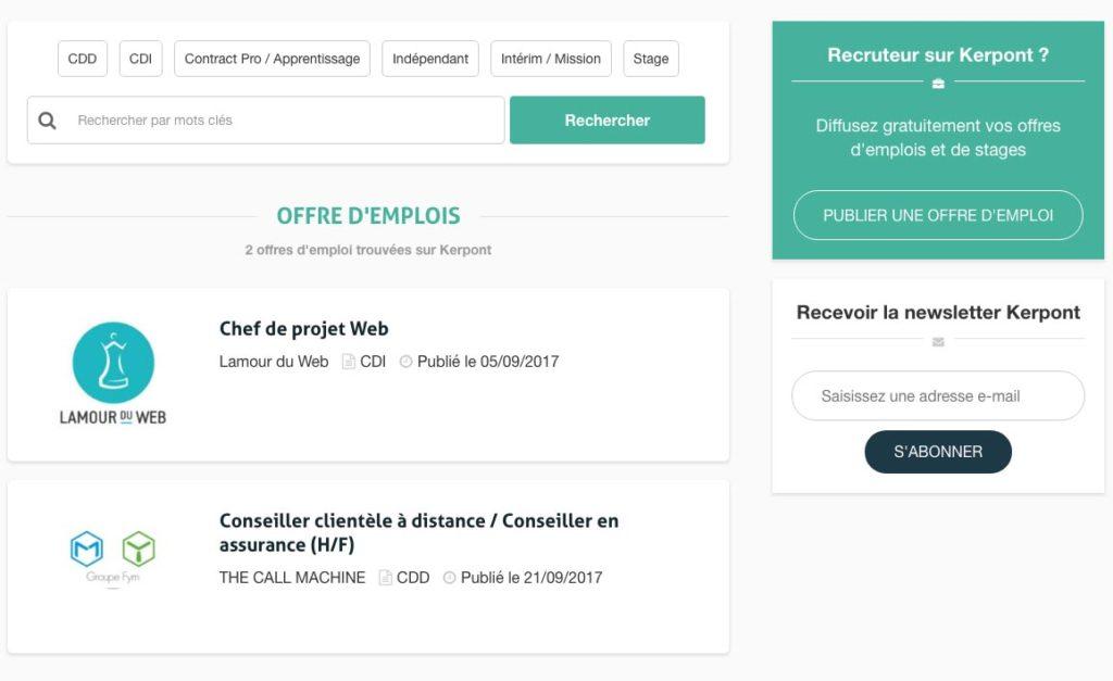 Diffusion d'offres d'emplois sur le portail collaboratif des entreprises de Kerpont
