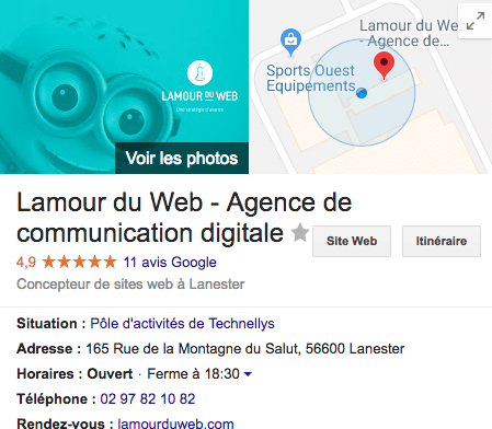 Fiche Google My Business Lamour du Web
