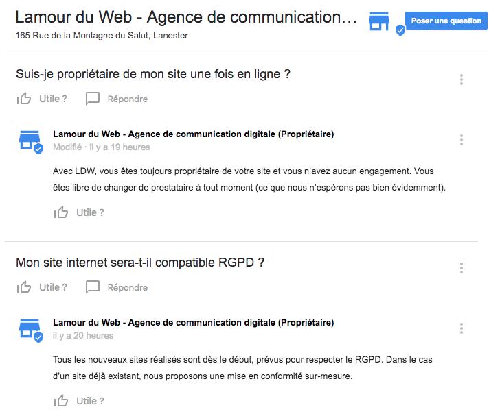 FAQ Google Lamour du Web